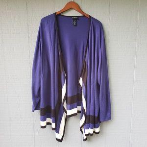 Catherine's Waterfall Violet Stripe Cardigan 4X